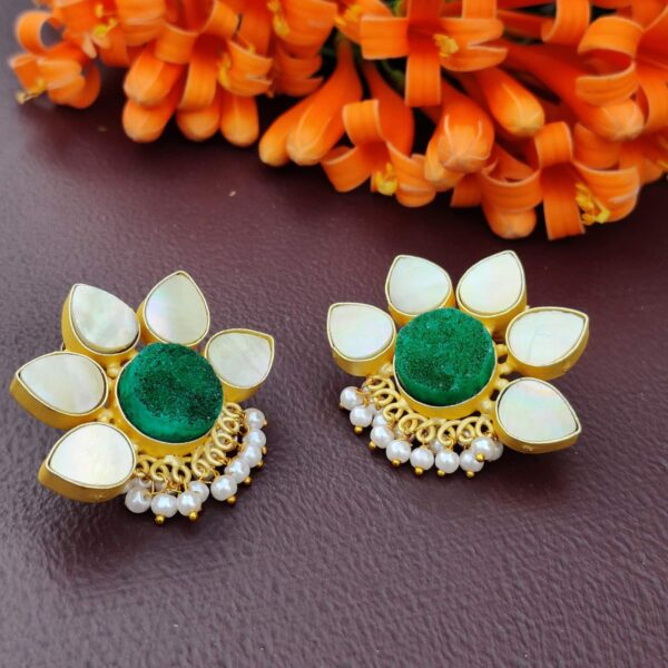 Lotus Stud Fashion Earring with Druzy and Shell Pearl Lifestyle 1