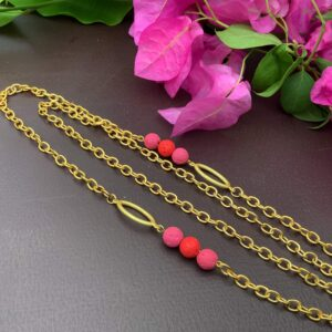 """30"""" 22K Gold-Plated Handcrafted Mask Chain with Lava Beads as Necklace2"""