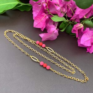 """30"""" 22K Gold-Plated Handcrafted Mask Chain with Lava Beads as Necklace"""