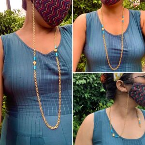 """30"""" 22K Gold-Plated Handcrafted Mask Chain with Turquoise How to Wear"""