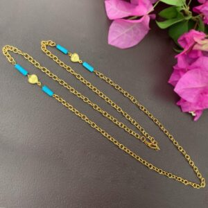 30 Inch 22K Gold-Plated Handcrafted Mask Chain with Turquoise as Necklace1