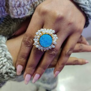 Blue Druzy Adjustable Ring with Halo of Pearl Fringe