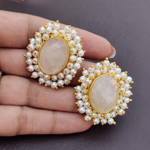 Dreamy Rose Quartz Pearl Fringe Halo Stud Earrings in Hand