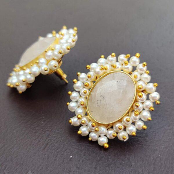 Dreamy Rose Quartz Pearl Fringe Halo Stud Earrings Side