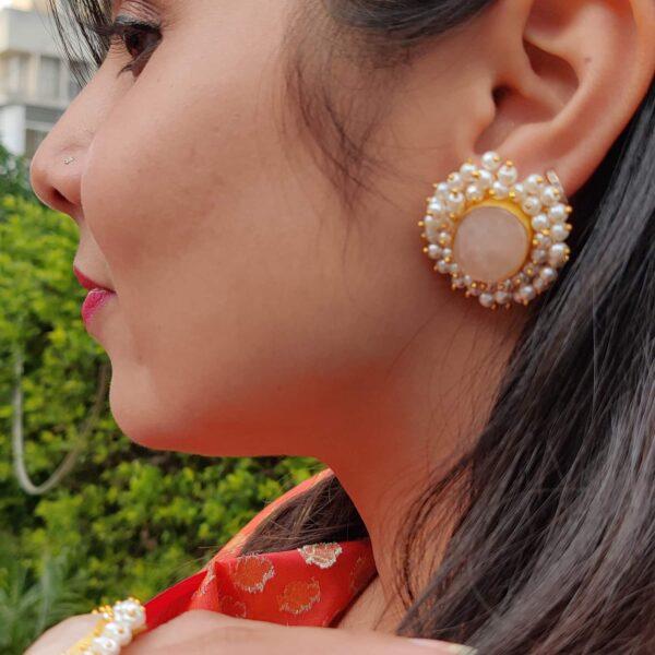 Dreamy Rose Quartz Pearl Fringe Halo Stud Earrings on Body