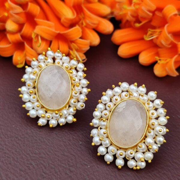 Dreamy Rose Quartz Pearl Fringe Halo Stud Earrings