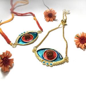 Evil Eye Red Blue Turquoise Rudraksh Rakhi Bhaiya Bhabhi Set Side