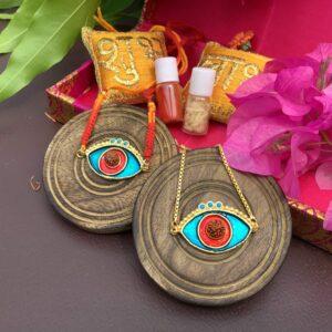 Evil Eye Red Blue Turquoise Rudraksh Rakhi Bhaiya Bhabhi Set Style1