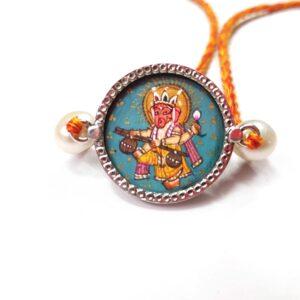Miniature Hand Painted Ganesha Sterling Silver Rakhi Zoomed