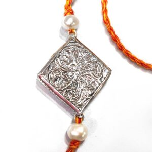 Miniature Hand Painted Krishna Rukmani Silver Rakhi Back