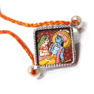Miniature Hand Painted Krishna Rukmani Silver Rakhi