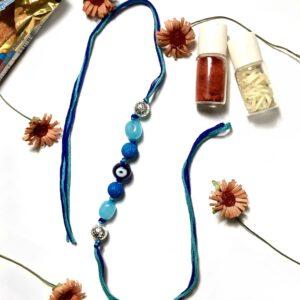 Natural Gemstone Evil Eye Blue Lava Rakhi for Bhaiya