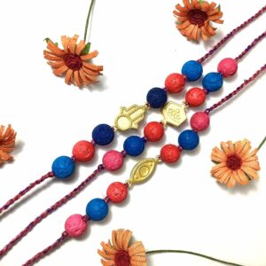 Natural Multicolor Lava and Gold Plated Charms Rakhi Combo Set of 3