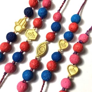 Natural Multicolor Lava and Gold Plated Charms Rakhi Combo set of 5 Closeup