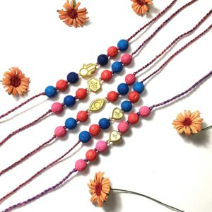 Natural Multicolor Lava and Gold Plated Charms Rakhi Combo set of 5