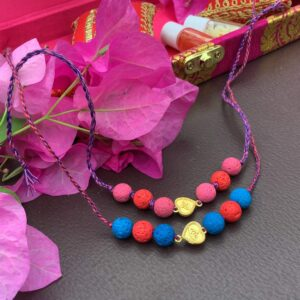 Natural Multicolor Lava and Gold Plated Hearts Kids Rakhi Combo set of 2 Stylish