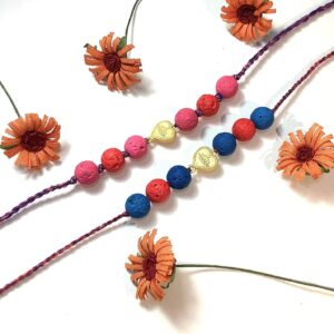 Natural Multicolor Lava and Gold Plated Hearts Kids Rakhi Combo set of 2