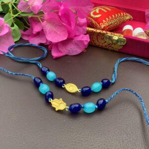 Natural Onyx with Gold plated Hamsa & Evil Eye Rakhi Combo with Packaging