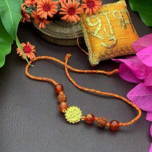 Natural Orange Gemstone Gold Plated OM and Rudraksha Rakhi Stylish 2