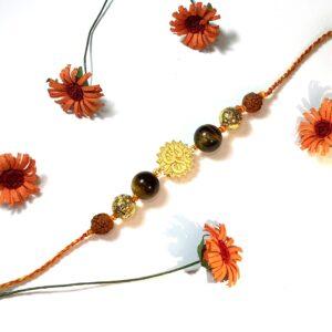 Natural Gemstone Tigers Eye with Gold plated OM and Rudraksha Rakhi for Bhaiya