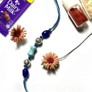 Natural Turquoise Blue Gemstone Rakhi for Bhaiya Image 1