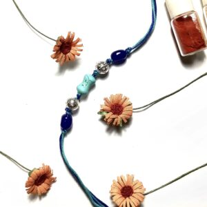 Natural Turquoise Blue Gemstone Rakhi for Bhaiya