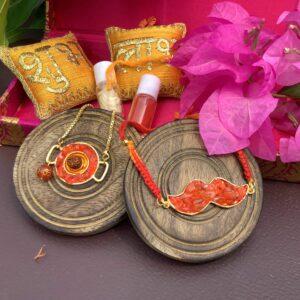 Orange Carnelian Rudraksh Rakhi for Bhaiya and Bhabhi Bracelet Set Stylish