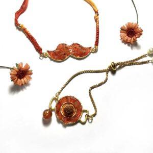 Orange Carnelian Rudraksh Rakhi for Bhaiya and Bhabhi Bracelet Set