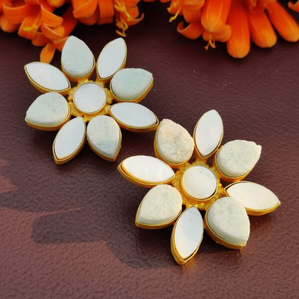 Oversized Gold-Plated Studs with Amazonite and Shell Pearl