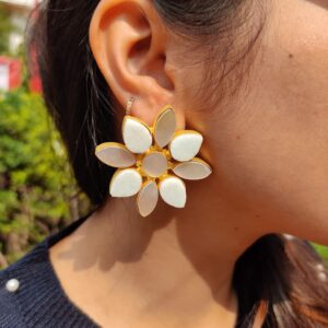 Oversized Gold-Plated Studs with Amazonite and Shell Pearl Body Closeup