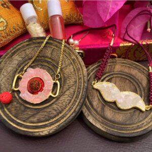 Pink Rose Quartz Rudraksh Mooch Rakhi Bhaiya and Bhabhi Bracelet Set Stylish