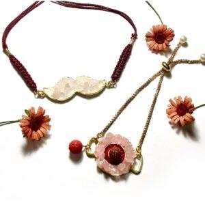Pink Rose Quartz Rudraksh Mooch Rakhi Bhaiya and Bhabhi Bracelet Set