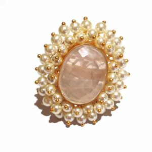 Rose Pink Quartz Statement Cocktail Ring with Pearl Fringe