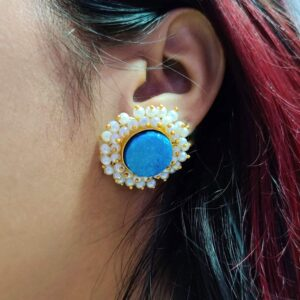 Round Blue Drusy Stud Earrings with Pearl Fringe Halo Body