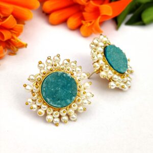 Round Blue Drusy Stud Earrings with Pearl Fringe Halo