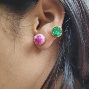 Sugar Crush Daily Fashion Stud Earrings (Set of 4) on Ear