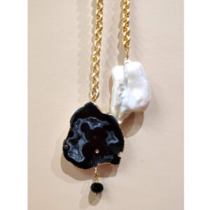 Natural Druzy Crystal and Pearl Tie Knot Gold-Plated Necklace
