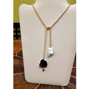 Natural Druzy Crystal and Pearl Tie Knot Gold-Plated Necklace Complete