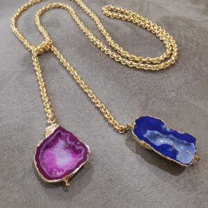 Natural Pink and Blue Druzy Crystal Tie Knot Necklace