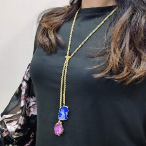 Natural Pink and Blue Druzy Crystal Tie Knot Necklace Body 1