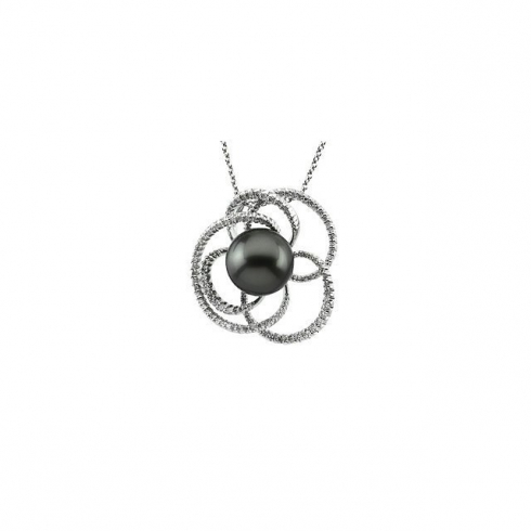 14kt White 1/2 CTW Diamond with 8mm Pearl Pendant