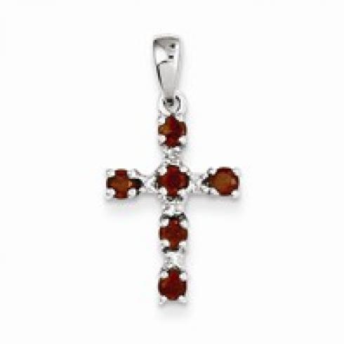 Red Topaz & Diamond Cross Pendant
