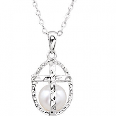 Sterling Silver Necklace with Pearl