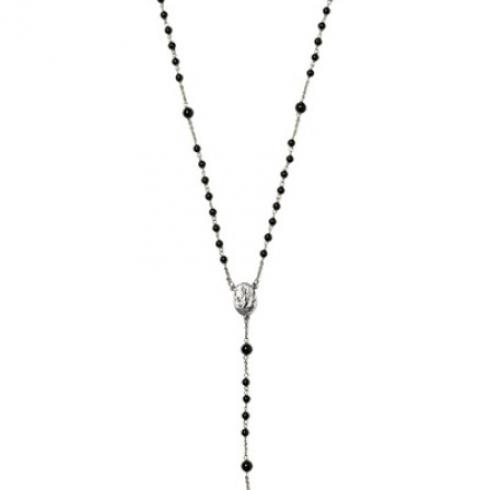 Onyx Bead Rosary Necklace