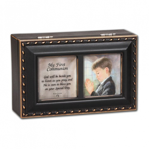 First Communion Boy Distressed Black Keepsake Music Box