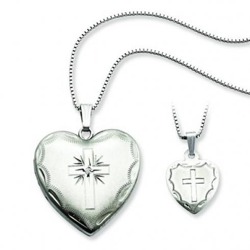 Sterling Silver Diamond Cross Heart Locket
