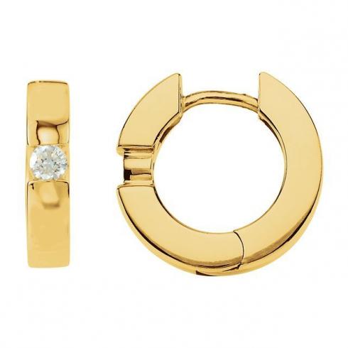 14kt Yellow 1/5 CTW Diamond Hinged Earrings