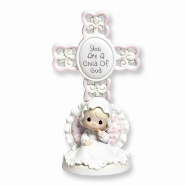 14k Precious Moments Girl Christening Cross Figurine