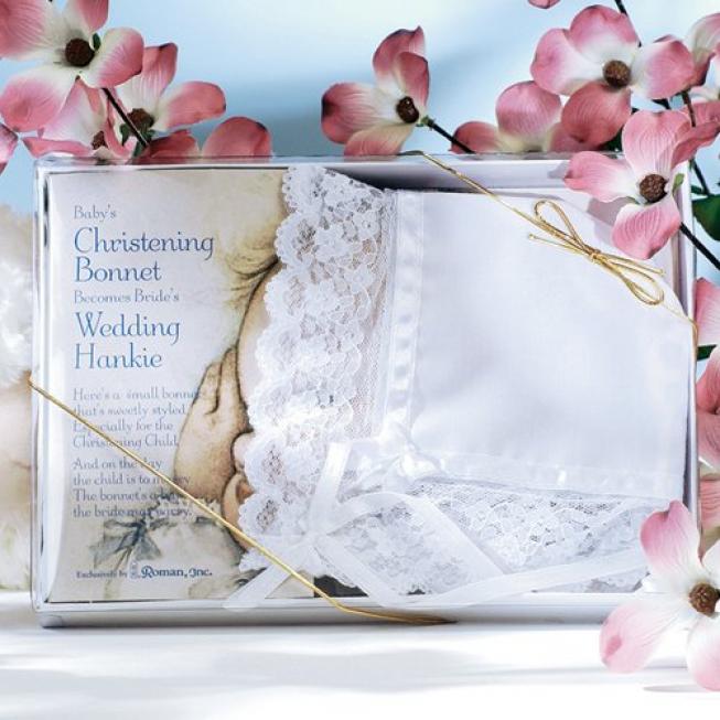 White Deluxe Christening Bonnet & Wedding Hankie