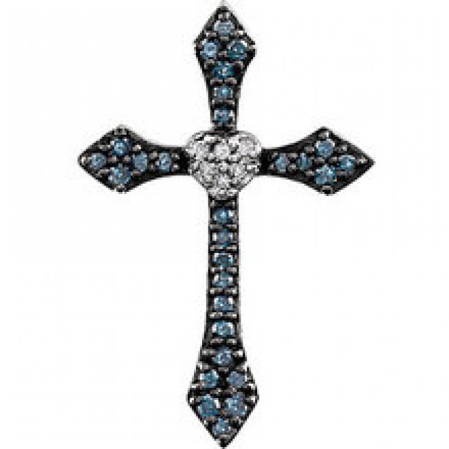 Blue White Diamond Cross Pendant